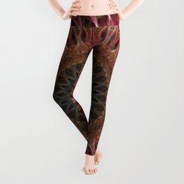 Mandala in brown and red tones Leggings