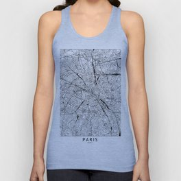 Paris White Map Unisex Tank Top