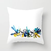 tits Throw Pillows featuring Blue Tits by Libbysscribbles