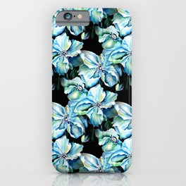 Watercolor Himalayan Blue Poppy in Aqua with Black Background iPhone Case