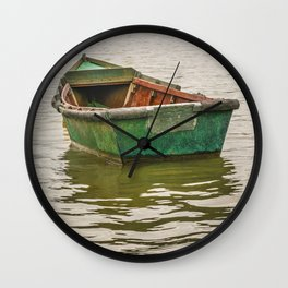 Lonely Old Fishing Boat at Santa Lucia River in Montevideo, Uruguay Wall Clock