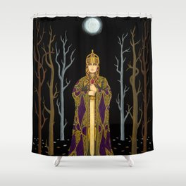 Kriemhild's Revenge (Lady with Sword) Shower Curtain