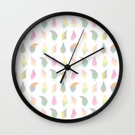 Feather pattern Soft Pastels Wall Clock