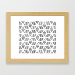 Geometric Line Lines Diamond Shape Tribal Ethnic Pattern Simple Simplistic Minimal Black and White Framed Art Print