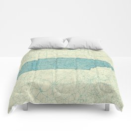 Tennessee State Map Blue Vintage Comforters