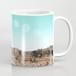 Desert Daylight Moon Ridge // Summer Lunar Landscape Teal Sky Red Rock Canyon Rock Climbing Photo Coffee Mug