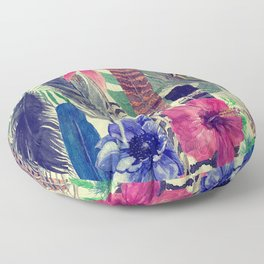 flowers and feathers Floor Pillow