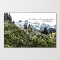 tolkien Canvas Prints featuring Alpine Wildflowers Tolkien Quote  by Elliott's Location Photography