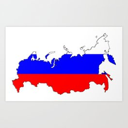 Russia Map with Russian Flag Art Print