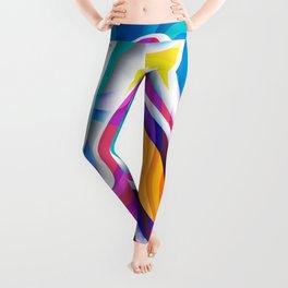 Bright colors paper cut out geometric pattern Leggings