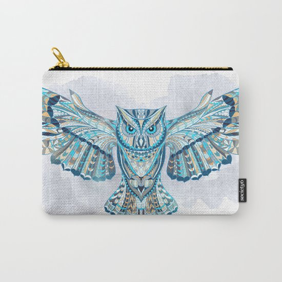 Blue Ethnic Owl Carry-All Pouch