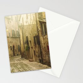 Vintage street in an old Medieval hilltop town in Italy Stationery Cards
