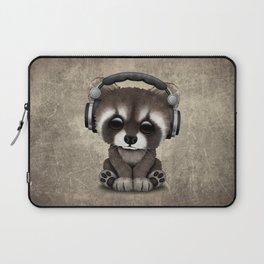 Cute Baby Raccoon Deejay Wearing Headphones Laptop Sleeve