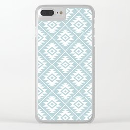 Aztec Symbol Ptn White on Duck Egg Blue Clear iPhone Case