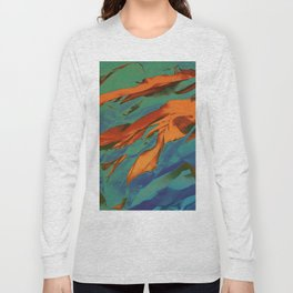 Green, Orange and Blue Abstract Long Sleeve T-shirt
