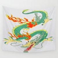 chinese Wall Tapestries featuring Chinese Dragon by J&C Creations