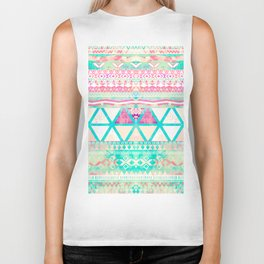 Pink Teal Aztec Pattern Triangles Girly Watercolor Biker Tank