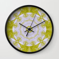 Green and white quilt kaleidoscope Wall Clock