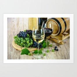 Glasses of Wine plus Grapes and Barrel Art Print