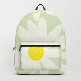 Beautiful White Retro Daisy Flowers Pastel Green Background #decor #society6 #buyart Backpack