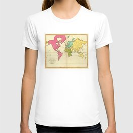 Vintage Map of The World (1792) T-shirt
