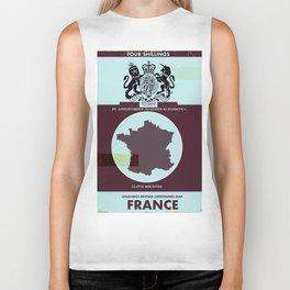 France vintage worn style map poster Biker Tank