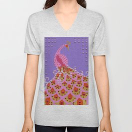 Peacock in Pink Unisex V-Neck