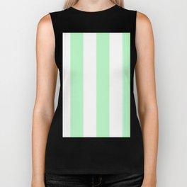 Wide Vertical Stripes - White and Light Green Biker Tank
