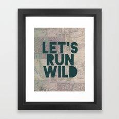 Let's Run Wild (Vintage Map) Framed Art Print