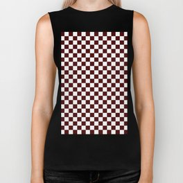 Small Checkered - White and Bulgarian Rose Red Biker Tank