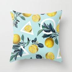Geometric and Lemon pattern III Throw Pillow