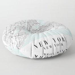 New York New York Blue Water Street Map Floor Pillow