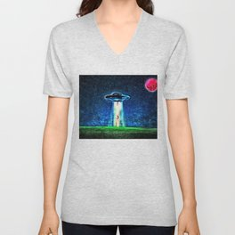 Area 51 Unidentified Flying Object Landscape Unisex V-Neck