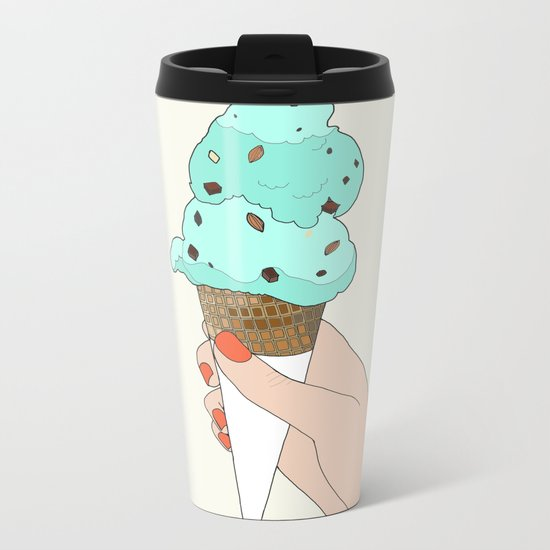 mint chocochip ice cream Metal Travel Mug