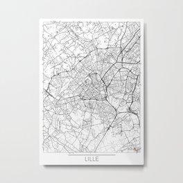 Lille Map White Metal Print