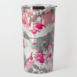 Rainbow Fuchsia Floral Pattern - with grey Travel Mug