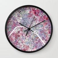 paris map Wall Clocks featuring Paris Map by MapMapMaps.Watercolors