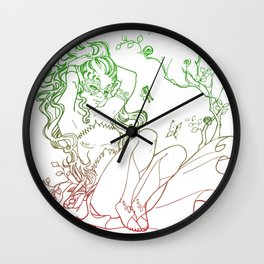 The Masked Fairy - leafy colors version - a masked fairy surrounded by butterflies and roses Wall Clock