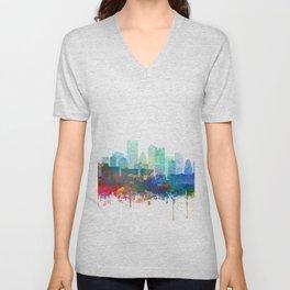 Pittsburgh Skyline Watercolor by Zouzounio Art Unisex V-Neck