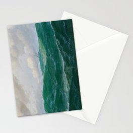 Vintage Ocean Oil Painting with Ship and Waves Stationery Cards