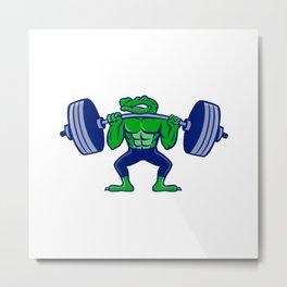 Alligator Lifting Heavy Barbell Mascot Metal Print