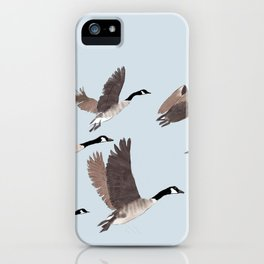 Flock of Canada geese iPhone Case