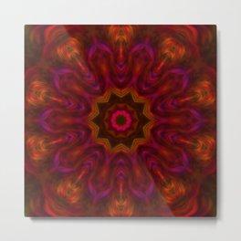 Orange Abstract Tile 14 Metal Print