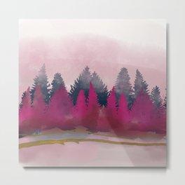 snow winter frozen forest Metal Print