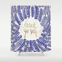 Treat Yo Self – Gold & Navy Shower Curtain