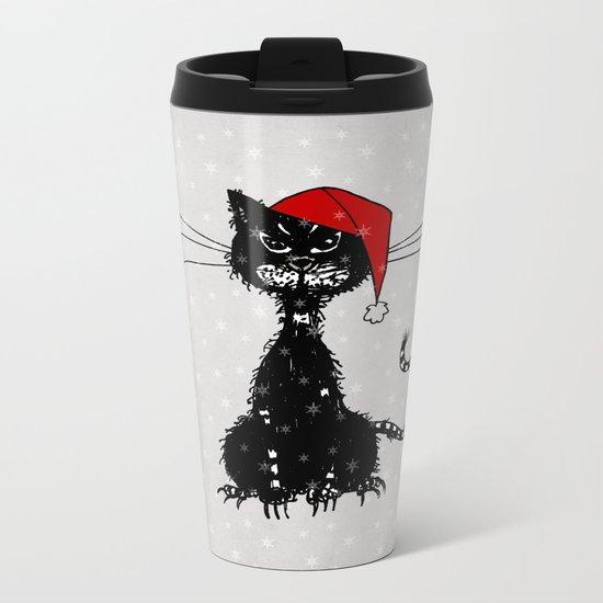 Evil Christmas Cat Metal Travel Mug