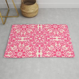 Hot Pink & Soft Cream Folk Art Pattern Rug