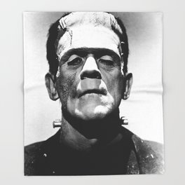Frankenstein 1933 classic icon image, flawless, timeless horror movie classic Throw Blanket