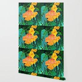 Orange Flowers of Flowing Circuitry Wallpaper