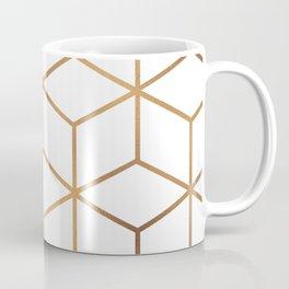 White and Gold - Geometric Cube Design Coffee Mug